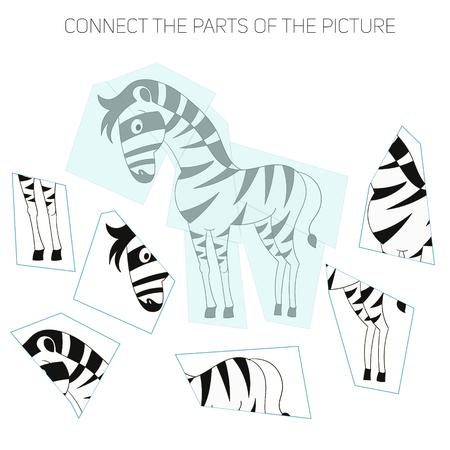 educational material: Puzzle game for chldren zebra cartoon doodle hand drawn vector illustration Illustration