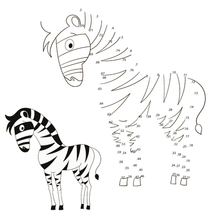 joining the dots: Connect the dots game zebra vector illustration cartoon doodle hand drawn