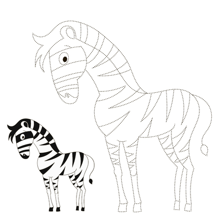 have fun: Connect the dots game zebra cartoon doodle hand drawn vector illustration Illustration