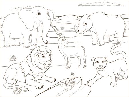 Animales De La Sabana De África Con Nombres De Dibujos Animados ...