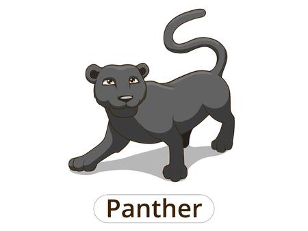 Panther africain bande dessinée de savane vecteur illustration colorée pour les enfants Banque d'images - 46552737