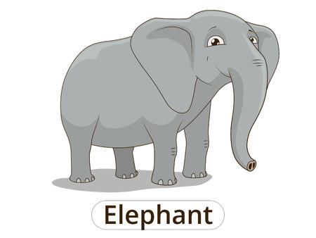 libro caricatura: Ilustraci�n de dibujos animados de colores vector de elefante africano de sabana para los ni�os