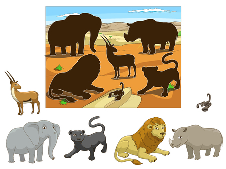 panthera: Match the  animals to their shadows child game cartoon colorful vector illustration Illustration