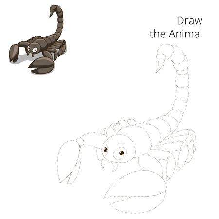 cartoon scorpion: Draw animal scorpion educational game cartoon colorful vector illustration