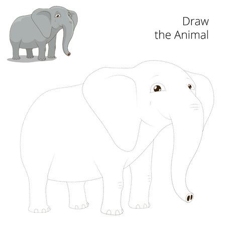draw animal: Draw animal elephant educational game cartoon colorful vector illustration