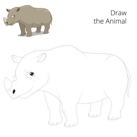 draw animal: Draw animal rhino educational game cartoon colorful vector illustration