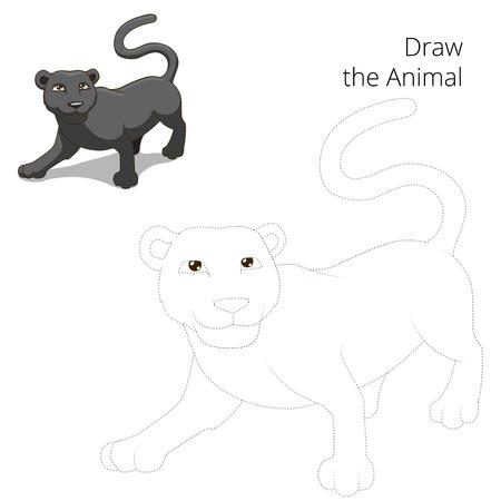 Libro Para Colorear Leopardo Sabana Africana Ilustración Vectorial ...