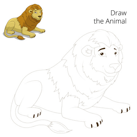 draw animal: Draw animal lion educational game cartoon colorful vector illustration