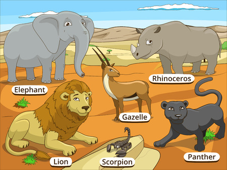 panthera: African savannah animals with names cartoon colorful vector educational illustration