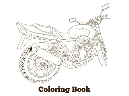 craze: Coloring book motorbike thin lines vector illustration