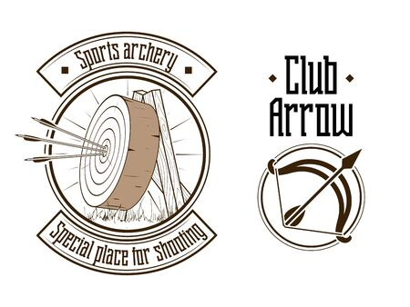 arco y flecha: Archery stylish brown logo emblem vector illustration Vectores