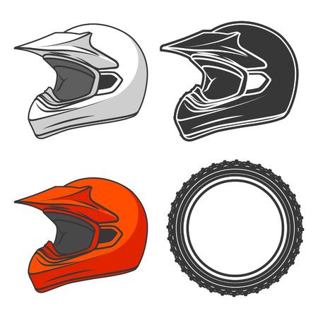 casco de moto: Casco de la suciedad moto KTM líneas finas de color rojo negro colores blanco ilustración vectorial