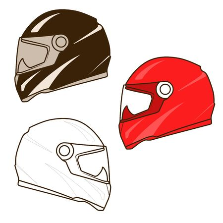 toughness: Motorbike helmet red brown white colors vector illustration Illustration