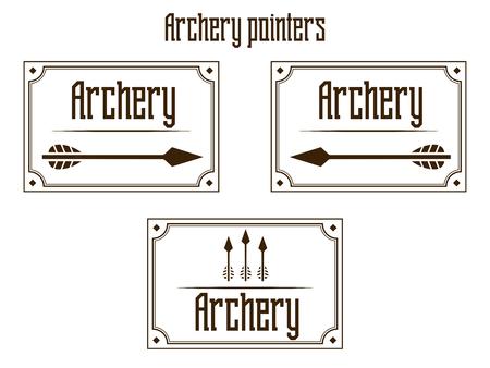 archer of bow: Pointers archery stylish brown logo emblem vector illustration