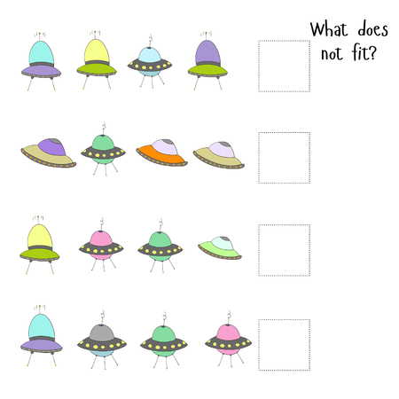 does: Educational game for children what does not fit cartoon doodle hand drawn vector illustration Illustration