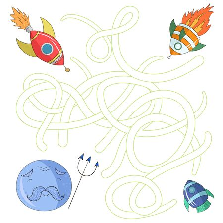 right of way: Educational game for children find the right way to planet labyrinth cartoon doodle hand drawn vector illustration