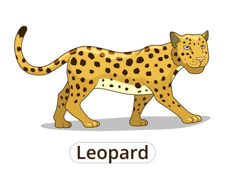 Leopard african savannah animal cartoon vector illustration for children