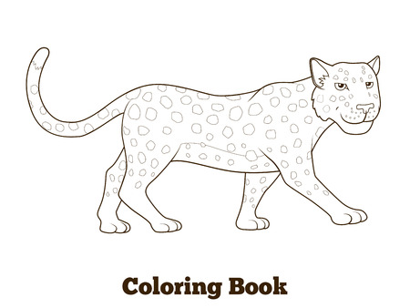 Coloring book leopard african savannah animal cartoon vector illustration for children