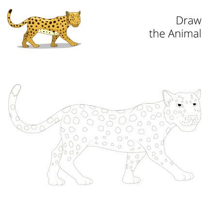 craze: Draw the animal educational game for children leopard vector illustration