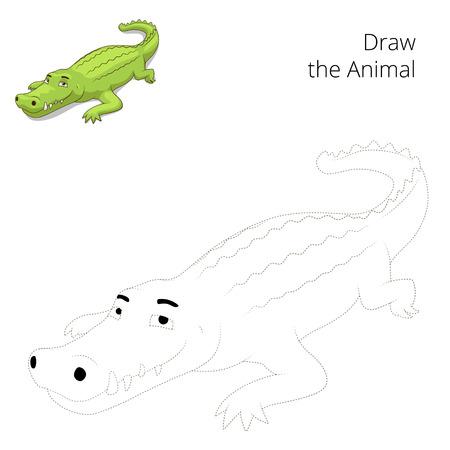 craze: Draw the animal educational game for children crocodile vector illustration