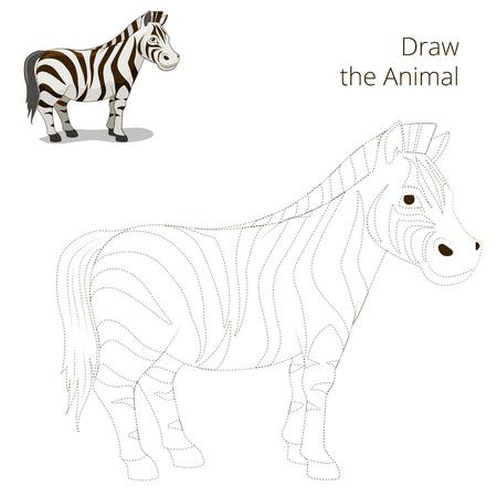 craze: Draw the animal educational game for children zebra vector illustration