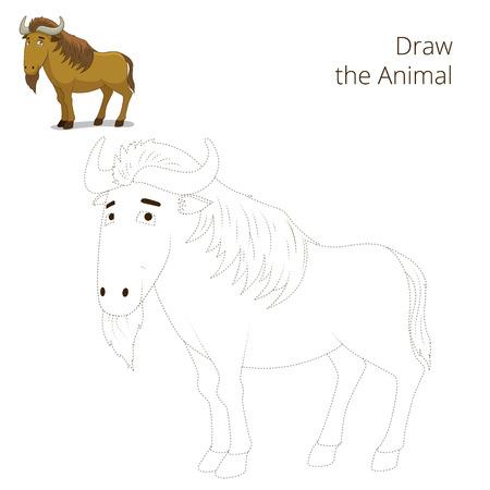 craze: Draw the animal educational game for children wildebeest vector illustration