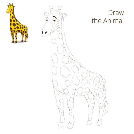 craze: Draw the animal educational game for children giraffe vector illustration