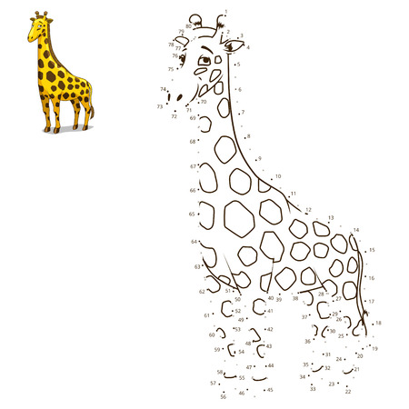 craze: Connect the dots to draw the animal educational game for children giraffe vector illustration Illustration