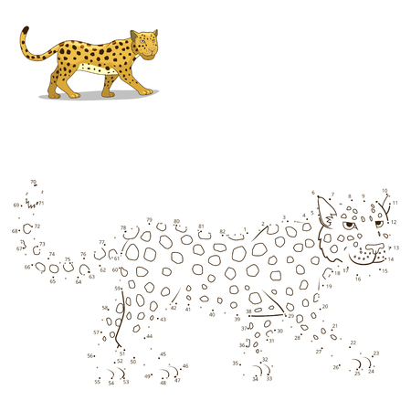 craze: Connect the dots to draw the animal educational game for children leopard vector illustration