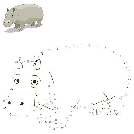 어린이 하마 벡터 일러스트 레이 션의 동물 교육 게임을 그립니다 점을 연결
