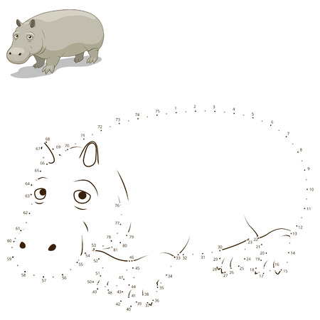 craze: Connect the dots to draw the animal educational game for children hippopotamus vector illustration