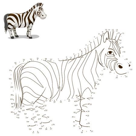 Reliez les points pour dessiner le jeu éducatif pour les animaux zèbre enfants illustration vectorielle Banque d'images - 46580474