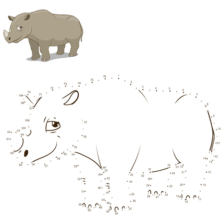 craze: Connect the dots to draw the animal educational game for children rhino vector illustration