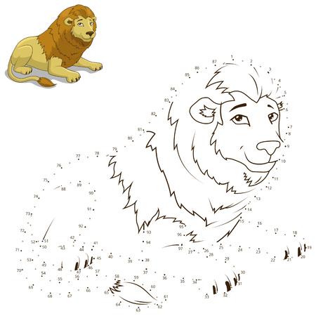 어린이 사자 벡터 일러스트 레이션을위한 동물 교육 게임을 그리려면 점들을 연결