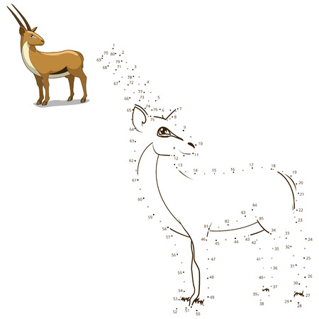 craze: Connect the dots to draw the animal educational game for children gazelle vector illustration Illustration