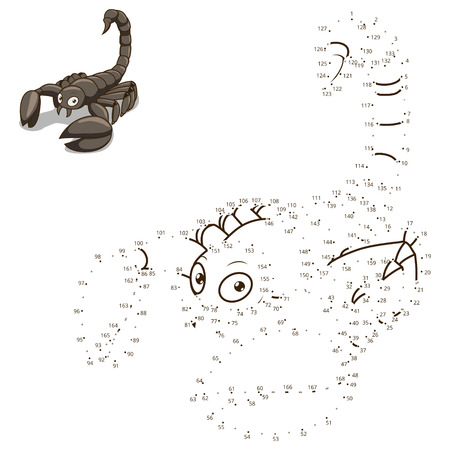 craze: Connect the dots to draw the animal educational game for children scorpion vector illustration Illustration