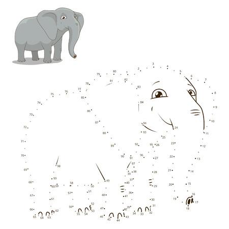 어린이 코끼리 벡터 일러스트 레이 션을위한 동물 교육 게임을 그릴 도트를 연결 일러스트