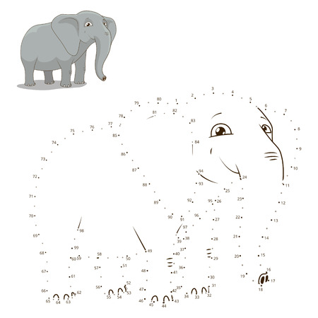 Connect the dots to draw the animal educational game for children elephant vector illustration Illusztráció