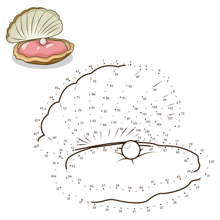 have fun: Connect the dots to draw the animal educational game for children oyster vector illustration
