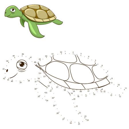 tortuga caricatura: Une los puntos para dibujar el juego educativo de animales para niños tortuga ilustración vectorial