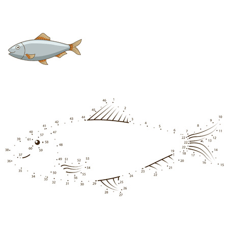 herring: Connect the dots to draw the animal educational game for children herring vector illustration Illustration