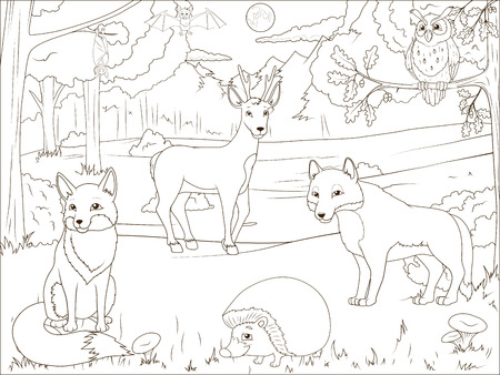 Coloring book forest with cartoon animals educational game vector llustration Vectores