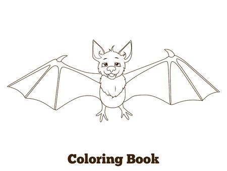 nocturnal animal: Coloring book forest animal bat cartoon for children vector illustration Illustration