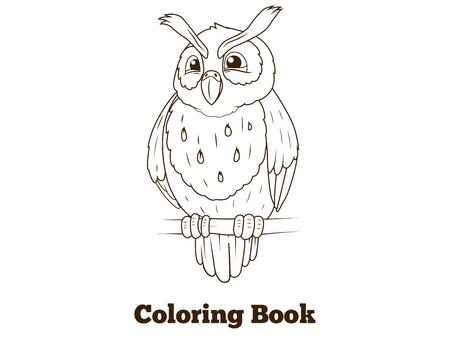 nocturnal animal: Coloring book forest owl bird cartoon for children vector illustration Illustration