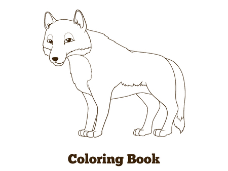 title emotions: Coloring book forest animal wolf cartoon for children vector illustration Illustration