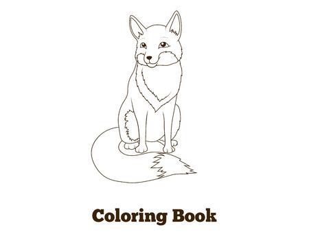 nocturnal animal: Coloring book forest animal fox cartoon for children vector illustration Illustration