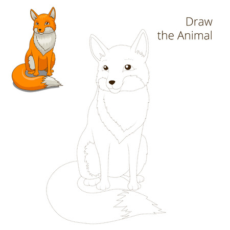 nocturnal animal: Draw the forest animal fox cartoon for children vector illustration
