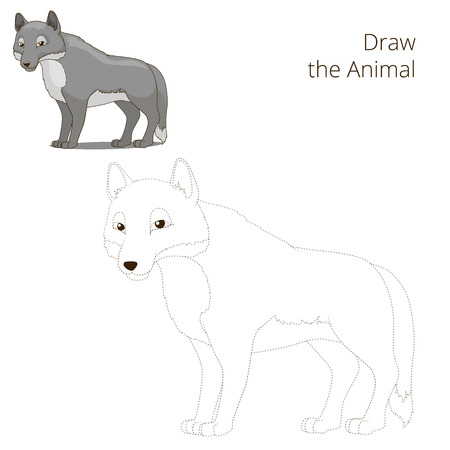 nocturnal animal: Draw the forest animal wolf cartoon for children vector illustration Illustration