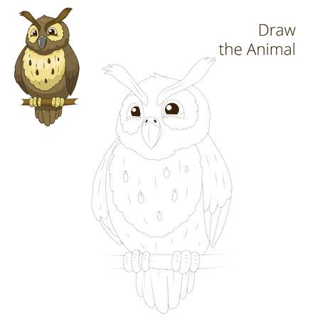 nocturnal animal: Draw the forest animal bird owl cartoon for children vector illustration Illustration