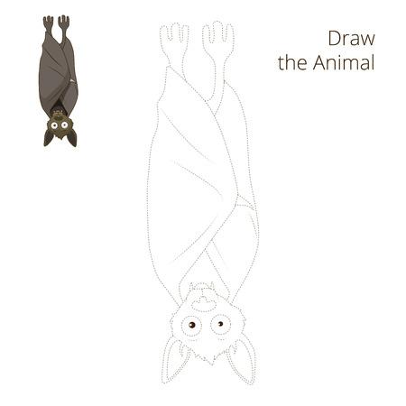 nocturnal animal: Draw the forest animal bat cartoon for children vector illustration